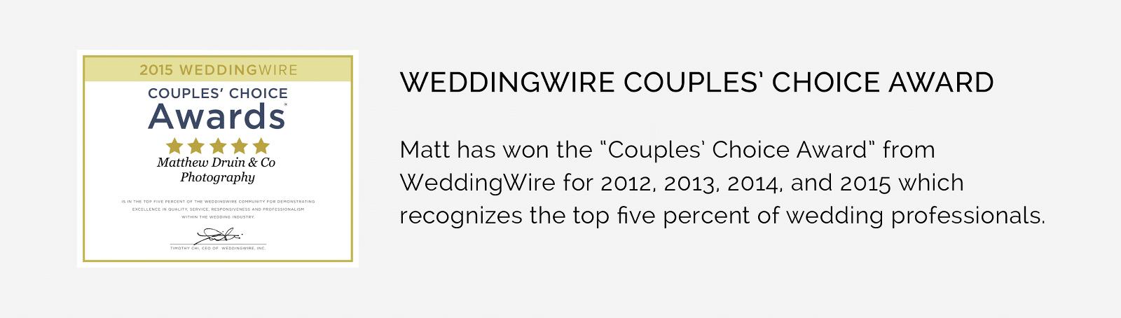 Award winning Wedding Photographers Matthew Druin + Co WeddingWire Award Winner