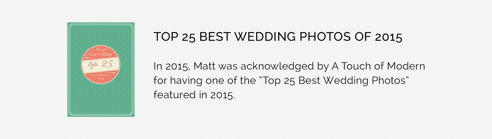 Award winning Wedding Photographers Matthew Druin + Co A Touch of Modern Award Winner