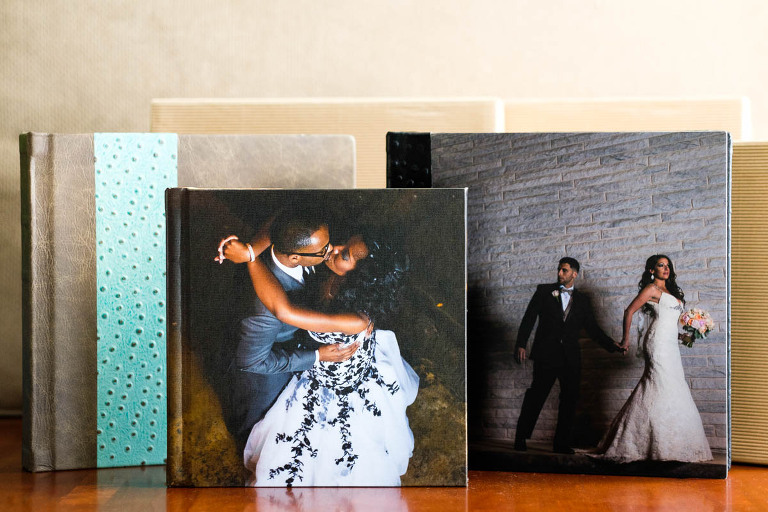Elite Custom Wedding Albums featuring leather, metal, and canvas covers