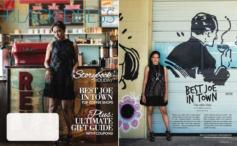Kwanza Zimmerman wearing black dress from Ivy Lane Boutique at Rev Coffee for Best Atlanta coffee shops Little Black Dress Magazine cover holiday 2016 issue