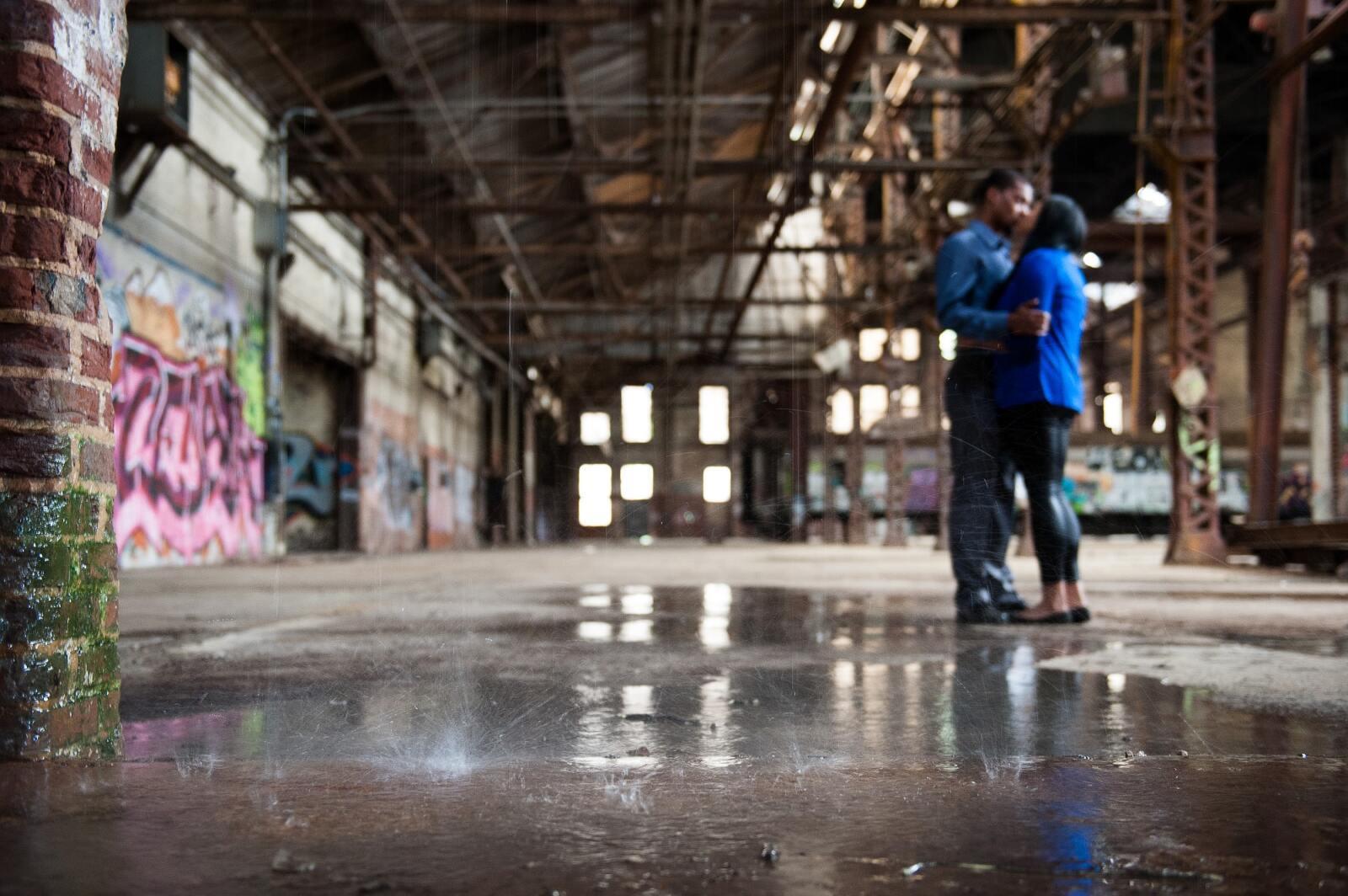 Engaged couple in abandoned warehouse in Atlanta from Atlanta Wedding Photographers Matthew Druin + Co