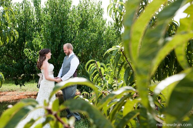 Bride and groom first look at Chattooga Belle Farm South Carolina wedding from Destination wedding photographers Matthew Druin + Co