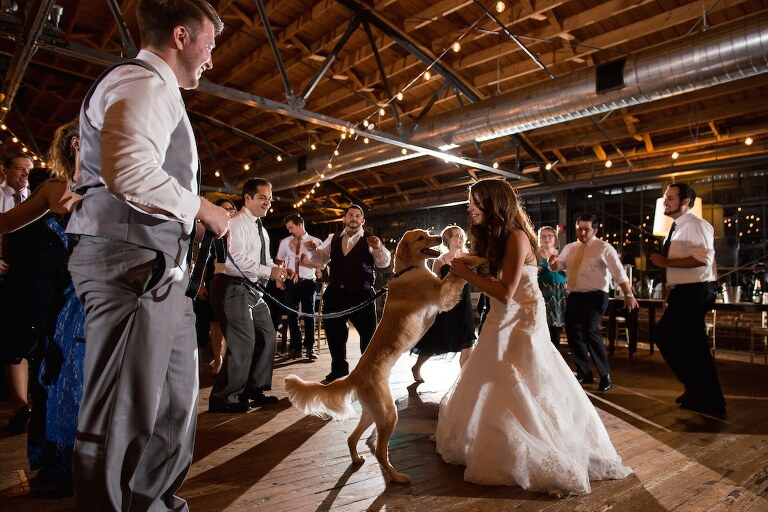 Bride dancing with her dog at Summerour from Atlanta wedding photographers Matthew Druin + Co Photography.