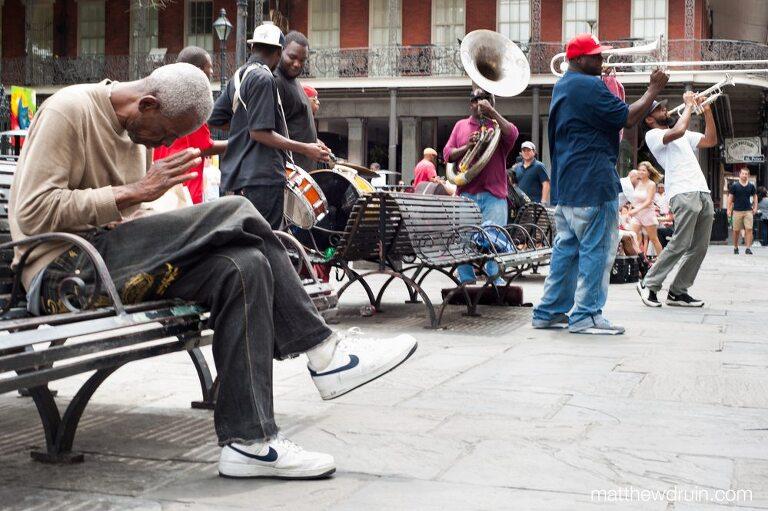 Portrait of big easy band on Bourbon street of New Orleans matthewdruin.com