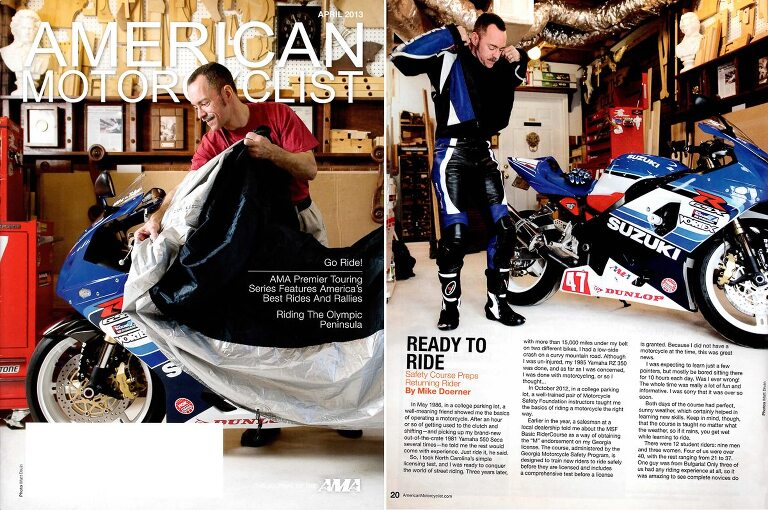Cover and spread in for American Motorcyclist Magazine of guy with blue motorcycle