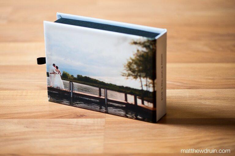 Custom designed wedding memory boxes with photo prints from Atlanta wedding photographer