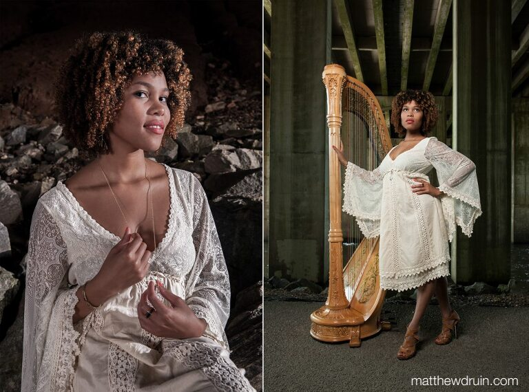 Editorial portraits of Atlanta wedding harpist Maya Lately holding necklace under bridge