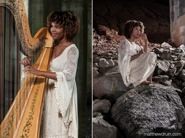 Editorial portraits of Atlanta wedding harpist Maya Lately sitting on rock and playing harp in white dress
