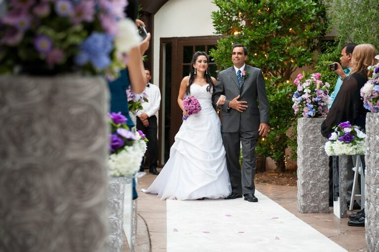 Brazilian bride walking down the aisle with her father at sunset Atlanta wedding