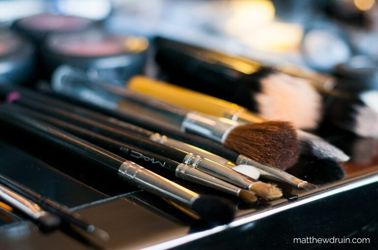 Makeup artists brushes and makeup getting ready for W Hotel Atlanta wedding
