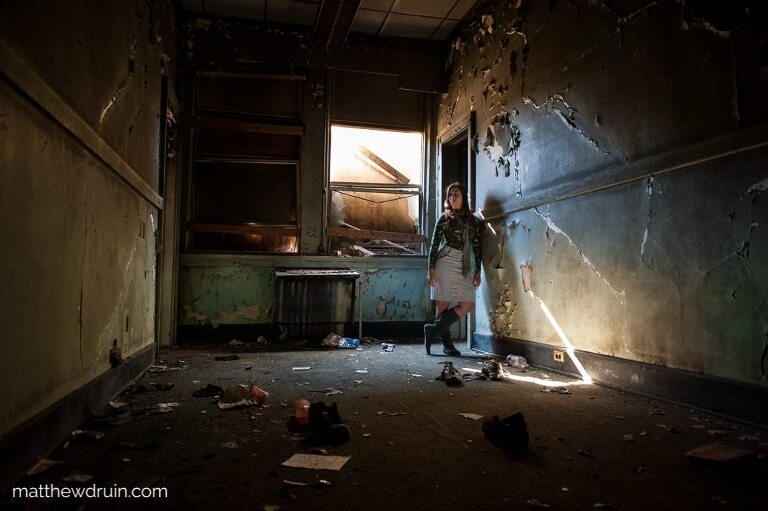 Acworth high school senior in abandoned school in Atlanta from Atlanta portrait photographers Matthew Druin + Co.