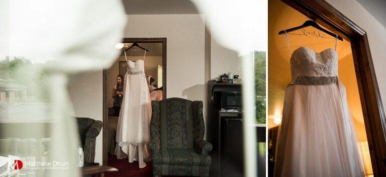 Brides wedding dress shot through window at South Carolina vineyard wedding