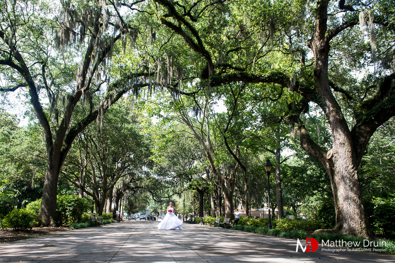 Bride walking down aisle for Forsyth Park wedding ceremony