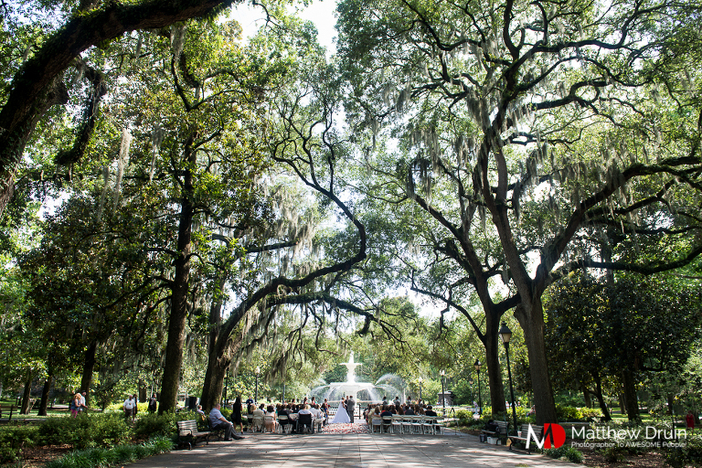 Wide shot of wedding ceremony at Forsyth Park wedding
