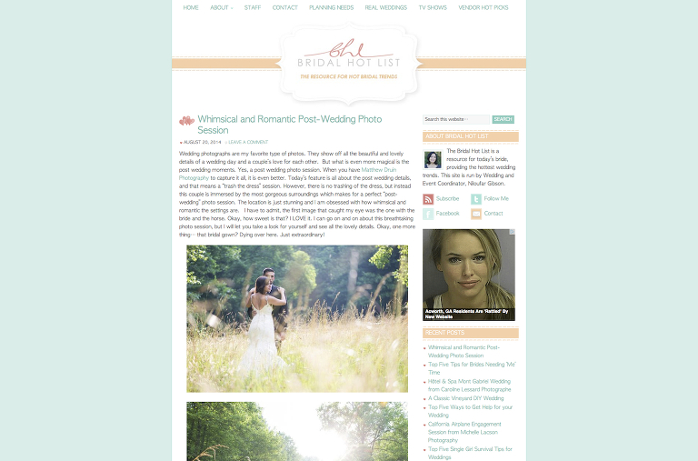 An Atlanta destination wedding Trash The Dress in the Blue Ridge Mountains featured in Bridal Hot List