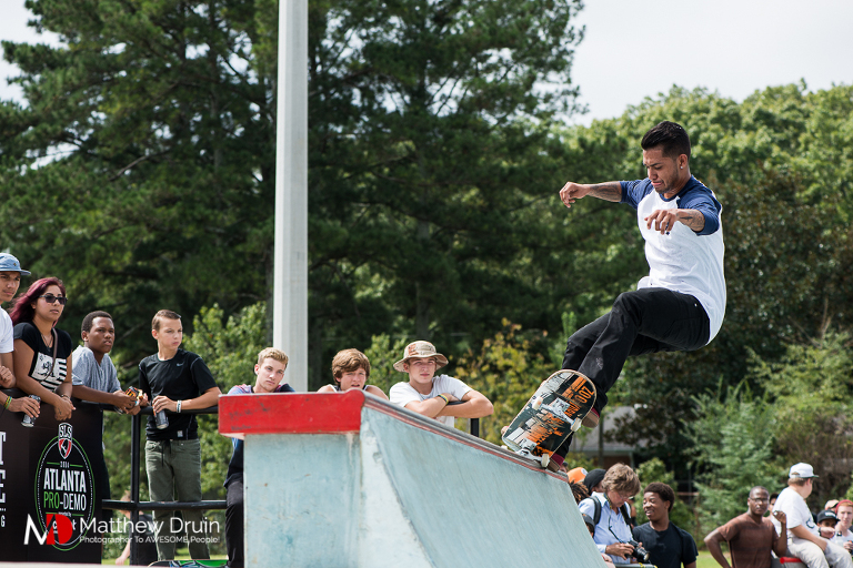 5-0 on half pipe at Street League Skateboarding Atlanta Pro Demo