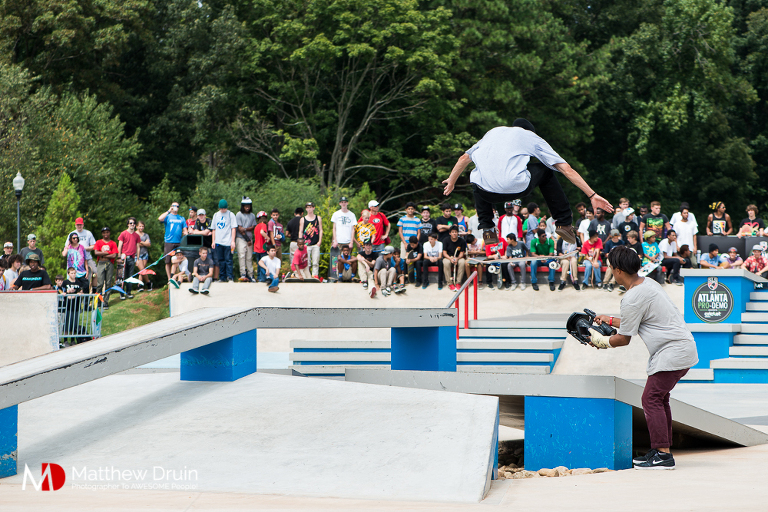 Frontside flip at Street League Skateboarding Atlanta Pro Demo