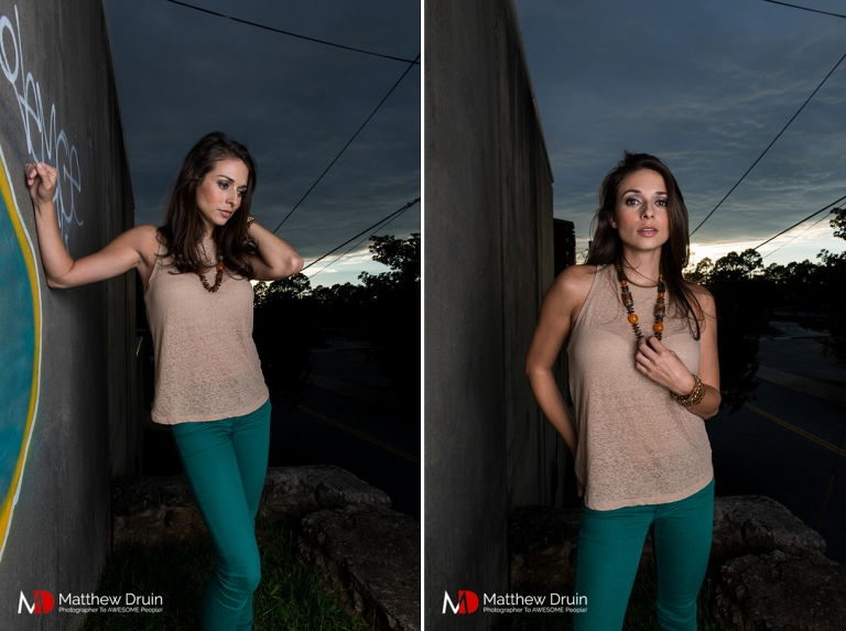 Atlanta Actress Beth Keener at sunset holding necklace