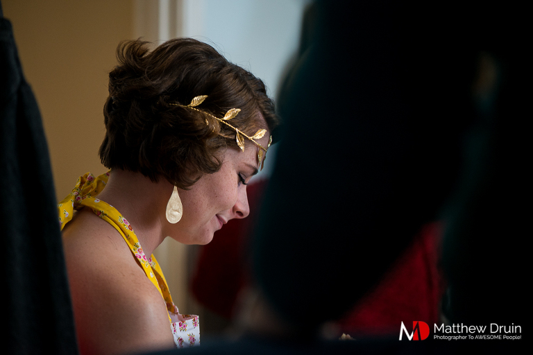 Bridesmaid in silence while getting ready at country Georgia wedding in Woodstock