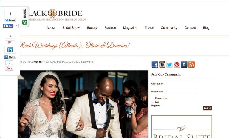 An urban skyline wedding at The Peachtree Club featured in Black Bride Atlanta wedding