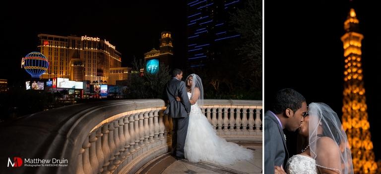 Bride and groom standing by Las Vegas Paris hotel Las Vegas Wedding Photographer Matthew Druin