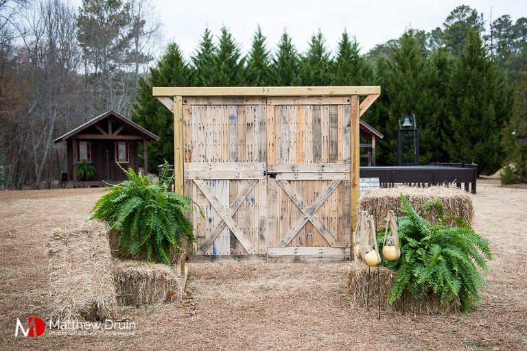 Outside Standing Barn Doors For Wedding Ceremony Bride And Groom At Rustic Fall Proctor