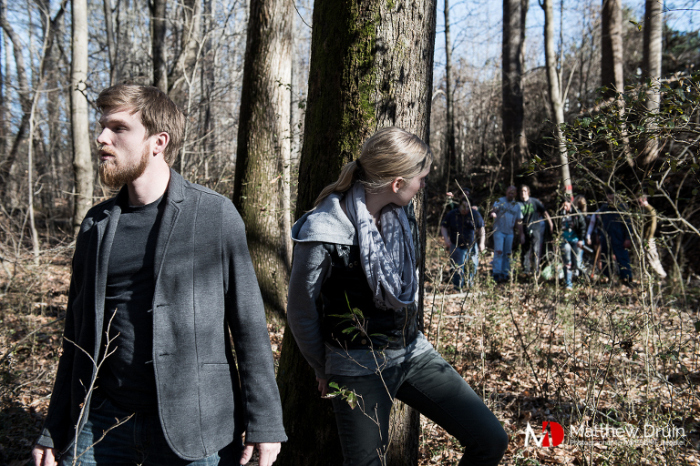 Couple hiding from zombies in Atlanta woods for the Walking Dead engagement session