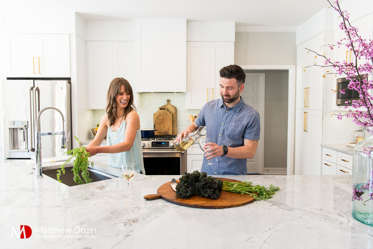 Atlanta portraits of Aubrey and Chris for Marietta kitchen remodel feature in Little Black Dress Little Red Wagon Magazine.