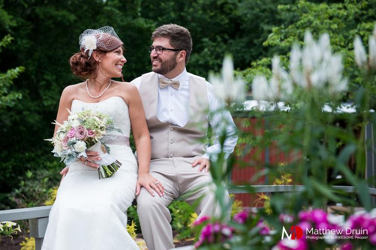 Bride and groom portrait in garden at Venue 92 from Woodstock wedding photographers Matthew Druin & Co.