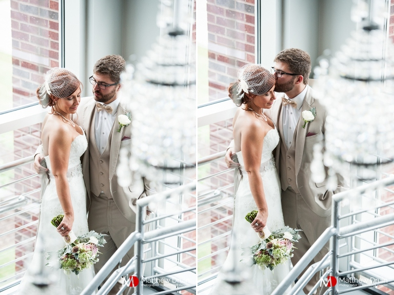 Bride and groom portrait in warehouse at Venue 92 from Woodstock wedding photographers Matthew Druin & Co.
