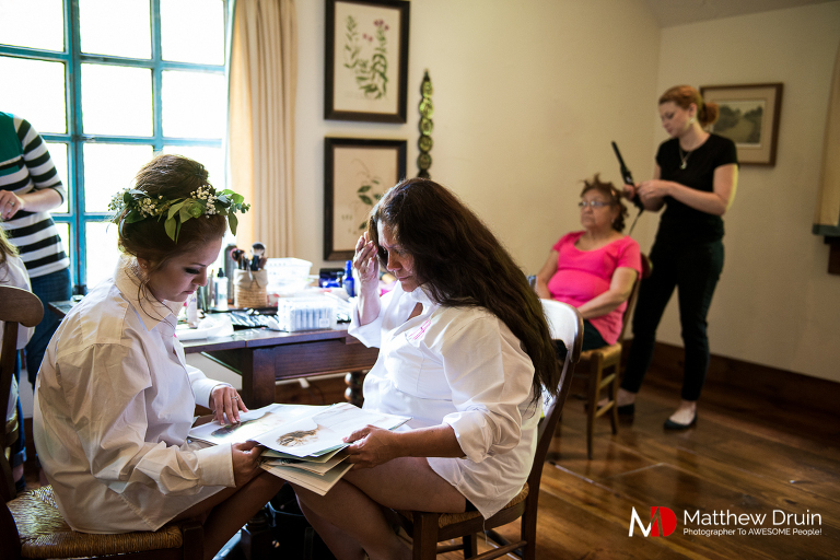 Bridesmaids getting ready at destination North Carolina wedding from North Carolina wedding photographers Matthew Druin + Co.