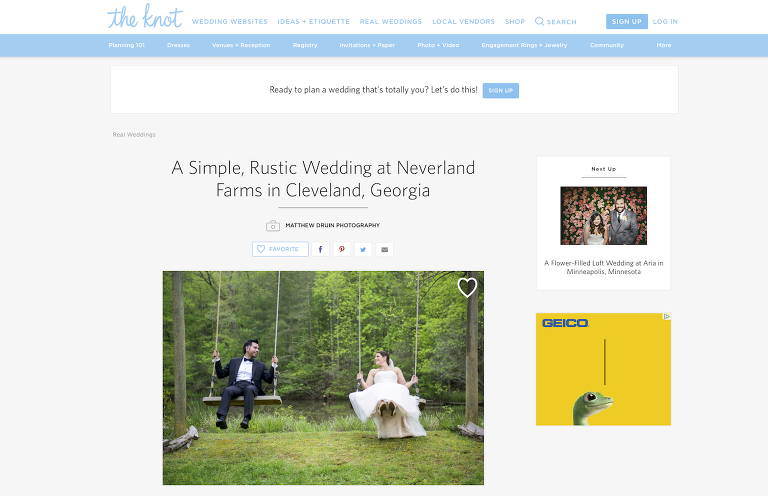 A rustic destination wedding at Neverland Farms featured in The Knot weddings