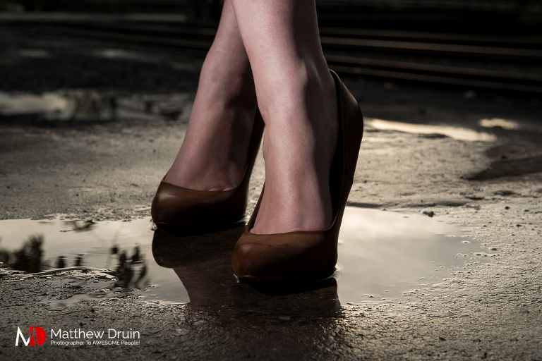 Louis Vuitton heels in puddle for fashion editorial from Atlanta portrait photographer Matt Druin.