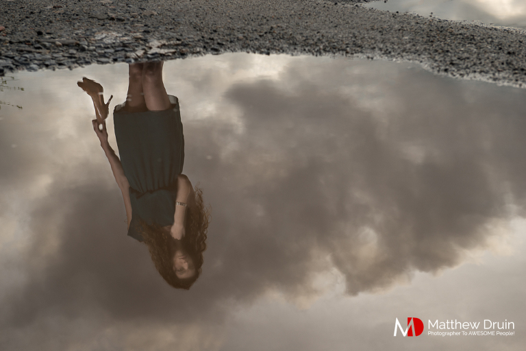 Girl with Louis Vuitton heels in puddle for fashion editorial from Atlanta portrait photographer Matt Druin.