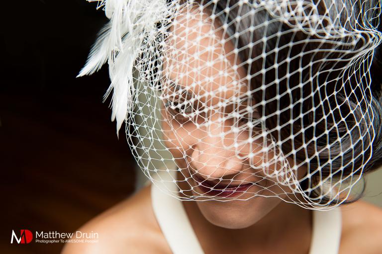 Bride with vintage veil at Atlanta wedding from Atlanta wedding photographers Matthew Druin & Co