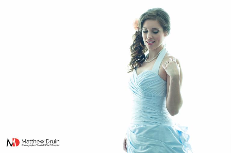 Bride in blue wedding dress at Atlanta wedding from Matthew Druin & Co