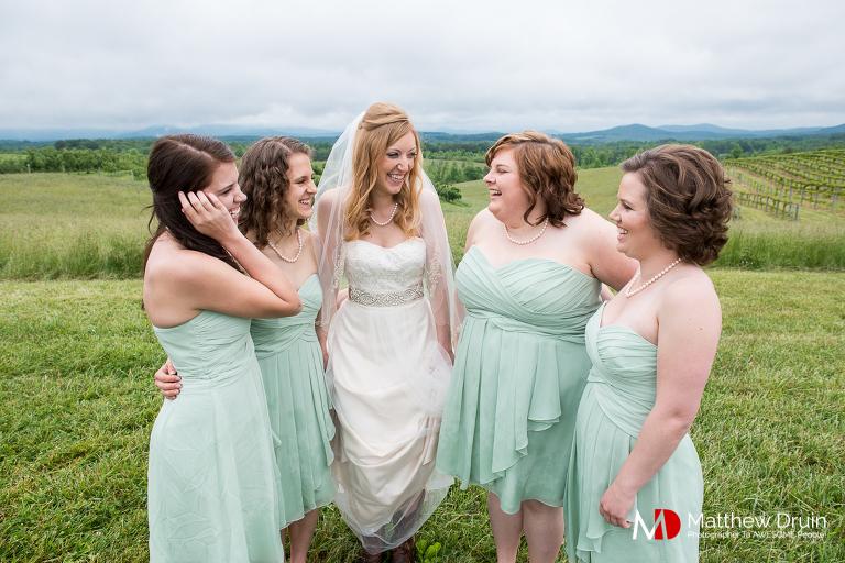 Bridesmaids in vineyard with bride at South Carolina wedding from Atlanta wedding photographers Matthew Druin + Co