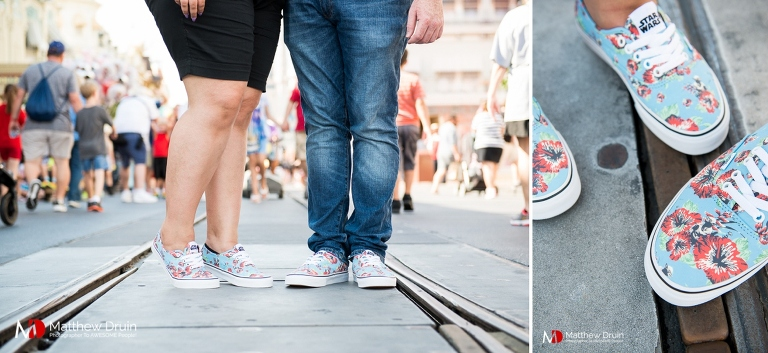 Engaged couple custom Vans shoes at Walt Disney World engagement session