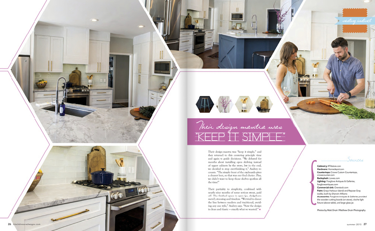 Atlanta portraits of Aubrey and Chris for Marietta kitchen remodel feature in Little Black Dress Magazine.