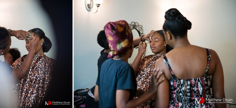 Bride getting ready at her modern Atlanta wedding at Venue 92 from Atlanta wedding photographers Matthew Druin & Co.