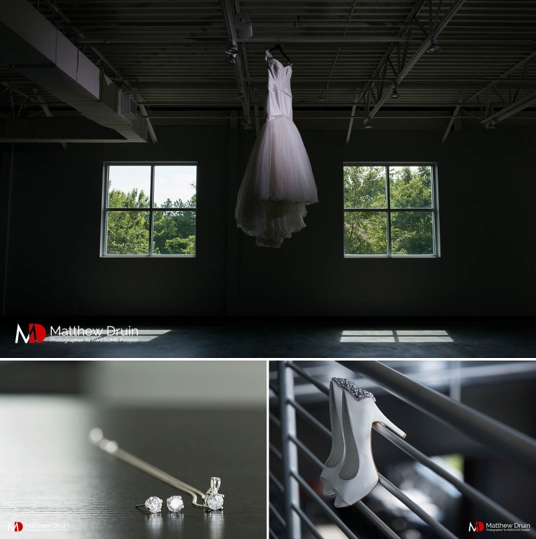 Bride wedding dress and shoes at modern Atlanta wedding at Venue 92 from Atlanta wedding photographers Matthew Druin & Co.