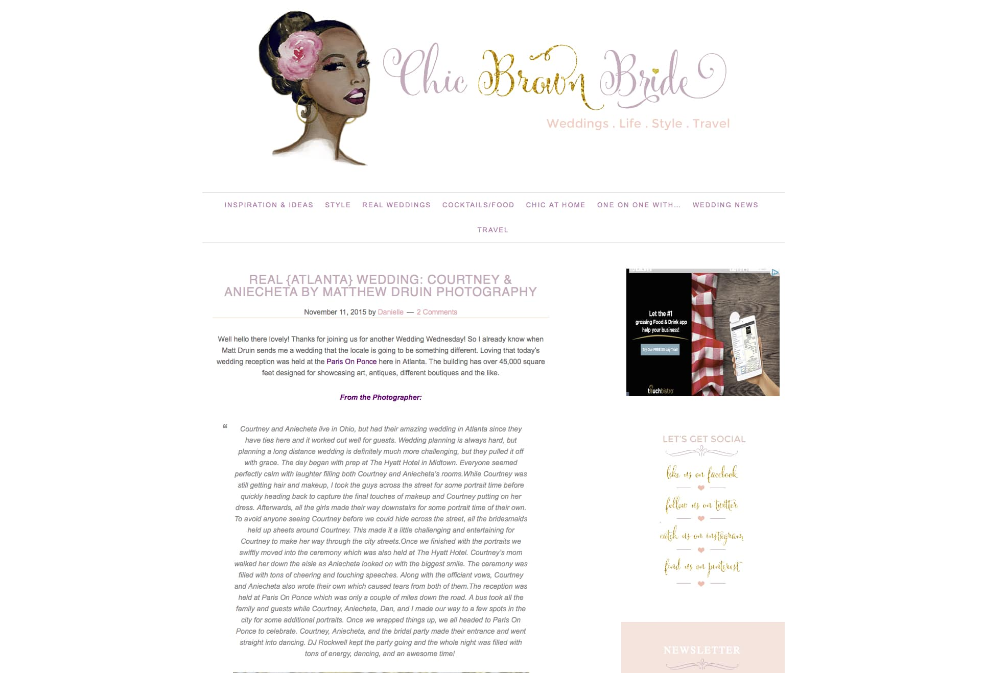 Chic And Co Paris paris on ponce wedding featured on chic brown bride