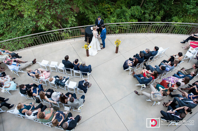 Wedding ceremony ariel from balcony at Atlanta Fernbank Museum wedding