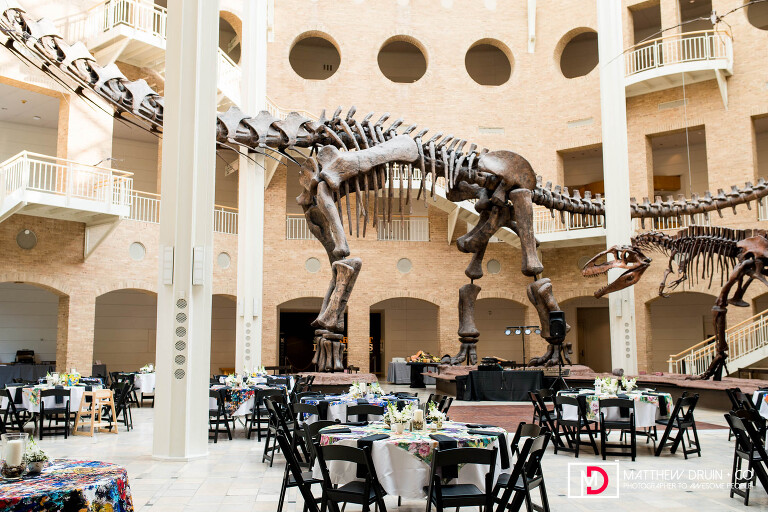 Dinosaur inside of Atlanta Fernbank Museum wedding