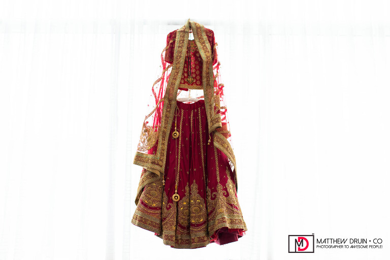 Indian bride's wedding dress Sari at destination New York fusion Indian wedding