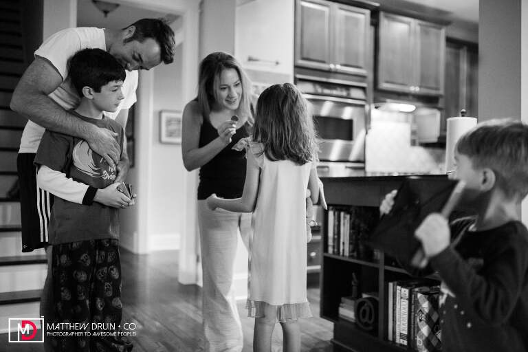 Family meeting for breakfast from Atlanta family documentary photographers