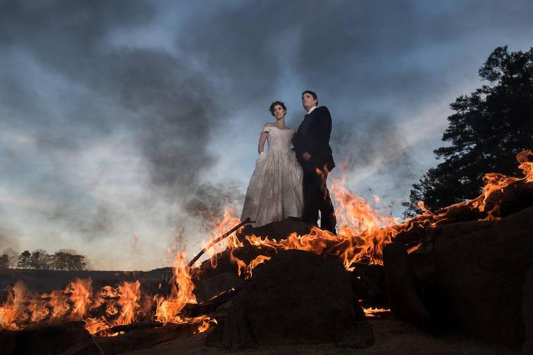 Atlanta bride and groom on fire at Atlanta wedding