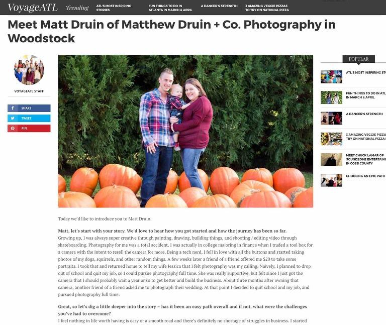 Atlanta photographers VoyageATL interview feature with Matt Druin of Matthew Druin + Co. Photography
