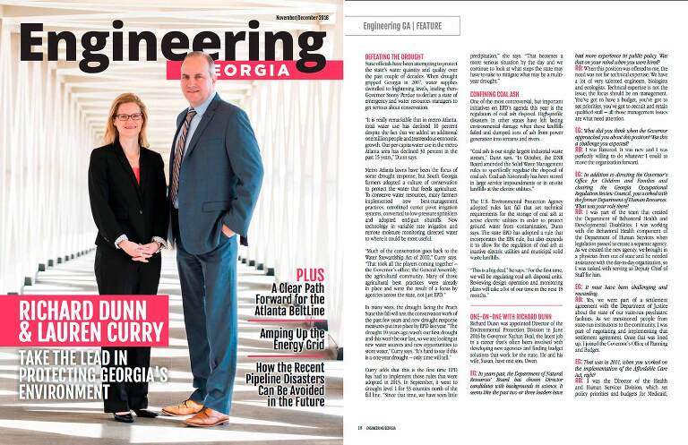 ACEC Engineering Magazine Cover photo of Richard E. Dunn and Lauren M. Curry in light-filled hallway for Georgia Environmental Protection