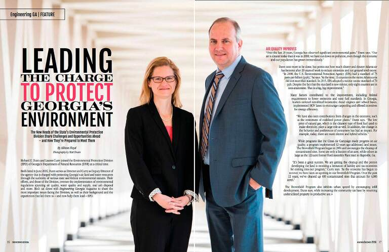 ACEC Engineering Magazine inside spread photo of Richard E. Dunn and Lauren M. Curry in light-filled hallway for Georgia Environmental Protection